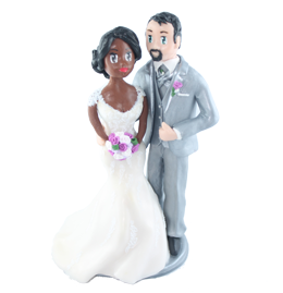 custom wedding cake topper of Fiona and Mike